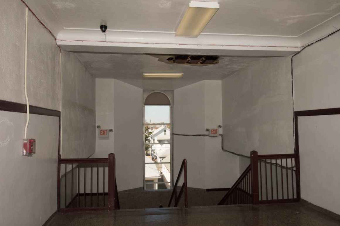 An old, leaking roof at Hamtramck High School slated to be replaced.