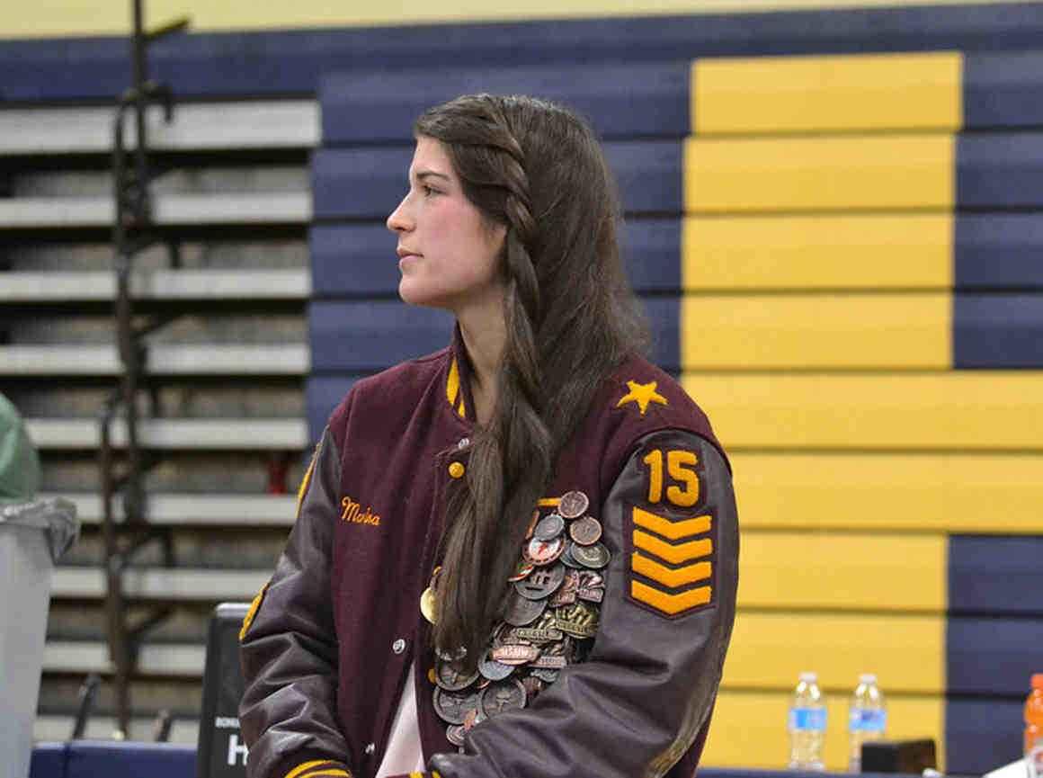 Marina Goocher pictured in wrestling jacket